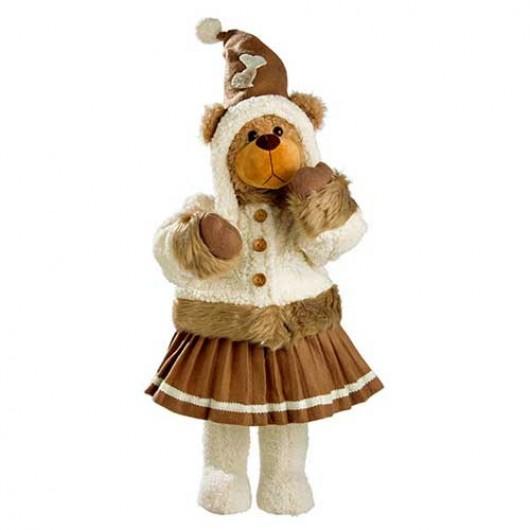 Αρκουδίτσα 78cm με καφέ φούστα και μπεζ παλτό