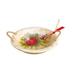 Καλαθάκι κεραμικό με σχοινένια χερούλια σχέδιο μπάλα 21cm