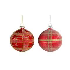 Γυάλινη μπάλα κόκκινη καρώ 8cm σε δύο σχέδια