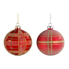 Γυάλινη μπάλα κόκκινη καρώ 10cm σε δύο σχέδια