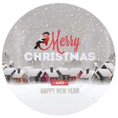 Χριστουγεννιάτικος δίσκος βινύλιου 32cm merry chrismas - happy new year