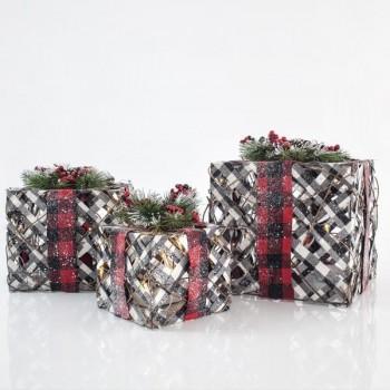 Φωτιζόμενα κουτιά δώρου led με σχοινί φυσικό και μπορντώ κορδέλα