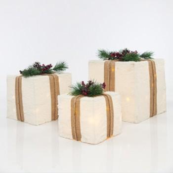 Φωτιζόμενα δώρα με άσπρο γουνάκι σετ 3 τεμάχια μπαταρίας