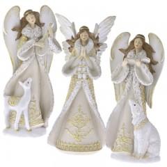 Διακοσμητικός άγγελος λευκόχρυσος resin σε 3 σχέδια 26εκ