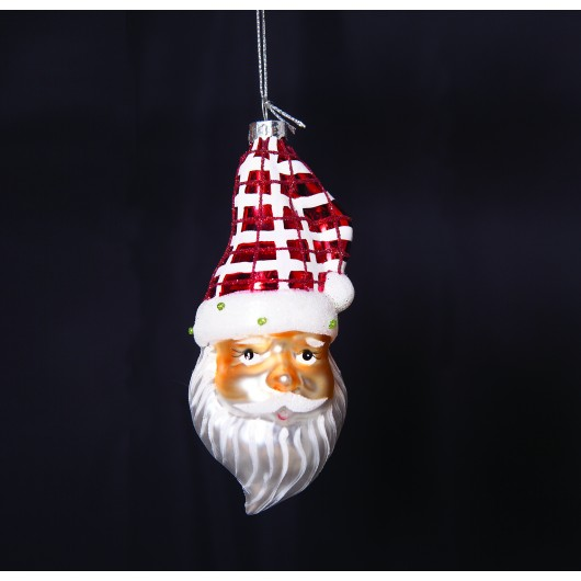 Άγιος Βασίλης γυάλινο διακοσμητικό διαστάσεων  14,5cm