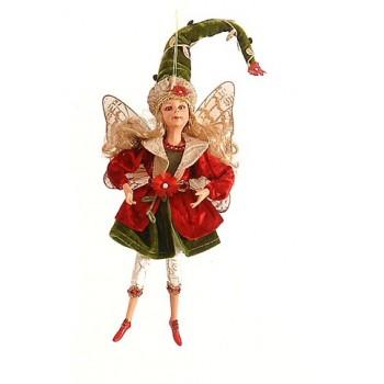 Διακοσμητική νεράϊδα 40εκ κόκκινη με φούστα πράσινη