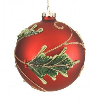 Κόκκινη γυάλινη μπάλα με ανάγλυφα πράσινα φύλα 12cm
