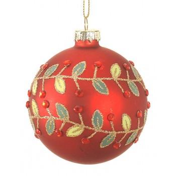 Κόκκινη γυάλινη μπάλα με χρυσά φύλα  10cm