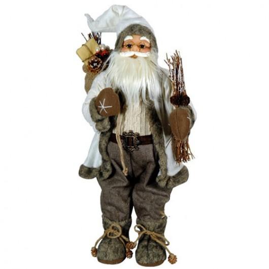 Άγιος Βασίλης 80cm με καφέ ρούχα