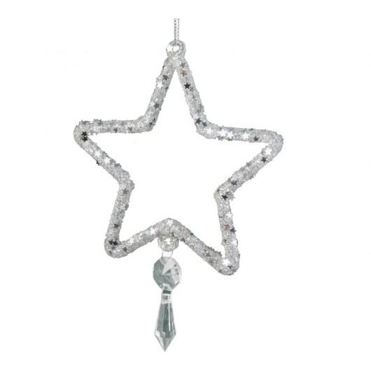 Γυάλινο κρεμαστό διακοσμητικό λευκό αστέρι 12cm