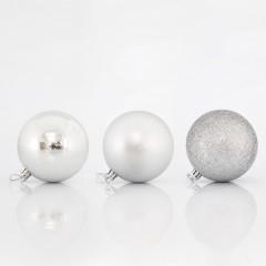 Μπάλα πλαστική ασημί σετ 6τμχ 8cm