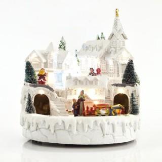 Χωριό με τρένο χιονισμένο με 17 LED με μετασχηματιστή με μουσική και κίνηση 23.5x23.5x22.5cm