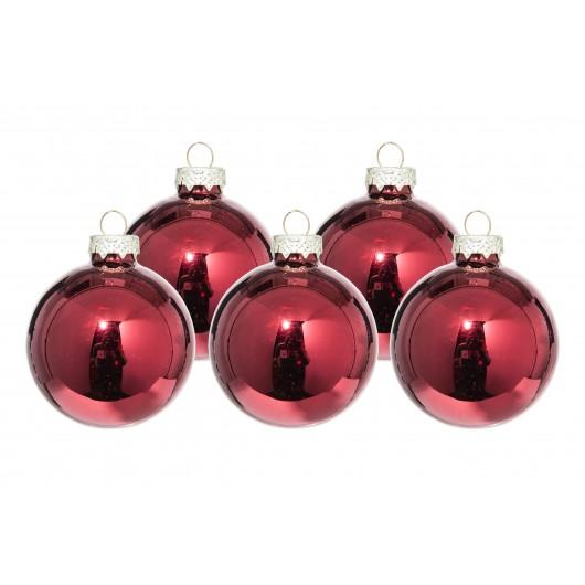 Μπάλα γυάλινη χρώματος κόκκινο του κρασιού διαστάσεων 8cm  Σετ των 16 τεμαχίων