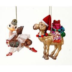 κρεμαστά γυαλινα στολίδια  καμήλα στουθοκάμηλος σέ δύο σχέδια