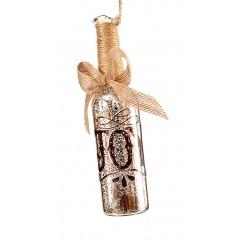 Γυάλινο κρεμαστό στολίδι 19cm  μπουκάλι  μέ τίτλο joy