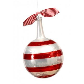 Μπάλα γυάλινη 10εκ ριγέ κόκκινο λευκό γυαλιστερή μέ μακριά κορυφή