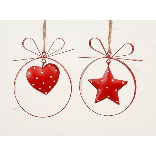 Kρεμαστό μεταλικό στολίδι κόκκινο σέ δύο σχέδια καρδιά καί αστέρι