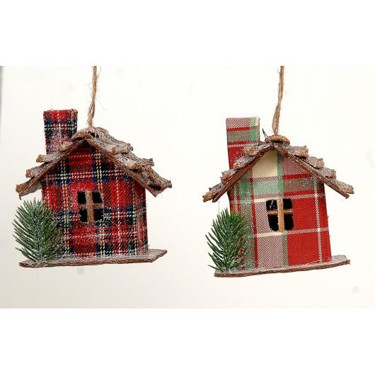 Kρεμαστό στολίδι  σπίτι μέ χριστουγεννίατικο δέντρο σέ δύο σχέδια 10cm
