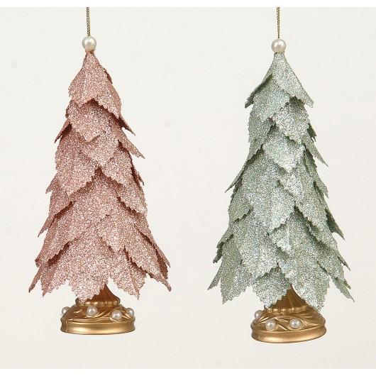Kρεμαστό στολίδι χριστουγεννίατικο δέντρο σέ δύο χρώματα 15cm plastic