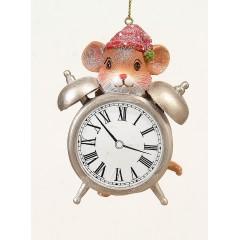 Polyresin κρεμαστό στολίδι ποντίκι σέ ρολόι 9cm