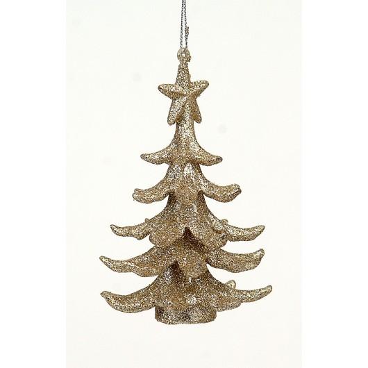 Kρεμαστό στολίδι χριστουγεννίατικο δέντρο σέ χρυσό χρώμα μέ γκλίτερ 13cm