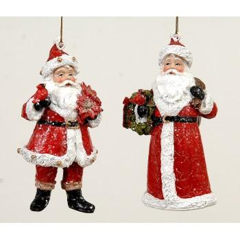 Στολίδι Άγιος Βασίλης σέ δύο σχέδια resin 13εκ