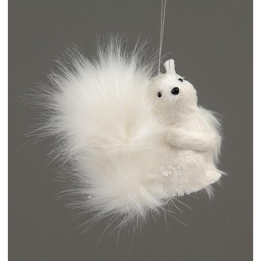 Kρεμαστό στολίδι χριστουγεννίατικο λευκός σκίουρος 12cm