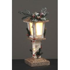 Φωτιζόμενο φανάρι 50cm ξύλινο λευκό με χριστουγεννιάτικη διακόσμηση