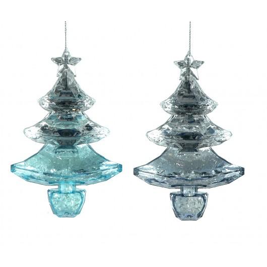 Kρεμαστό στολίδι χριστουγεννίατικο δεντράκι μπλέ  plastic σέ δύο σχέδια 13cm