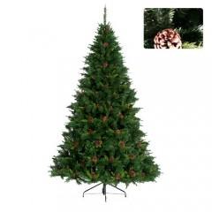 Δέντρο Pefki 225cm με πράσινο φύλλωμα και κουκουνάρια